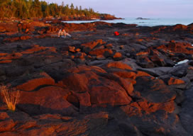 Collecting on the shore of Lake Superior