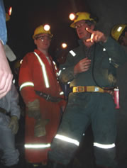 Dave, on right, underground at the Macassa Mine, Kirkland Lake, Ont