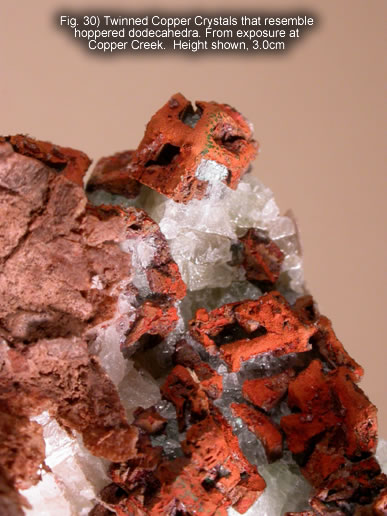 Fig. 30) Twinned Copper Crystals that resemble hoppered dodecahedra. From exposure at Copper Creek.  Height shown, 3.0cm