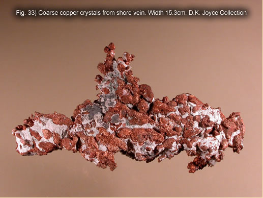 Fig. 33) Coarse copper crystals from shore vein. Width 15.3cm. D.K. Joyce Collection