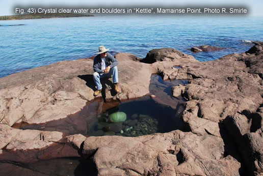 "Fig. 43) Crystal clear water and boulders in ""Kettle"", Mamainse Point. Photo R. Smirle"
