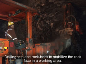 Drilling to place rock-bolls to stabilize the rock face in a working area