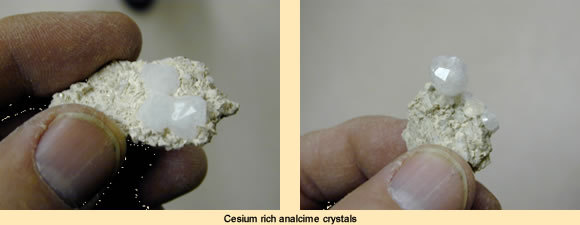 Cesium rich Analcime crystals