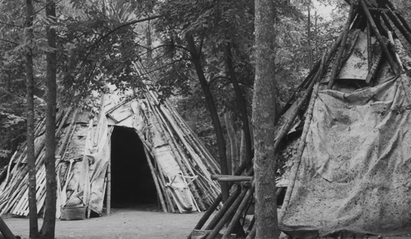 Teepees, dwellings of the Ojibwe people (constructed as they were in the early 19th century)