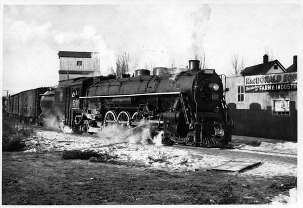 Mountain type Canadian National Railway train, Fort William, Ontario, December 24, 1957.